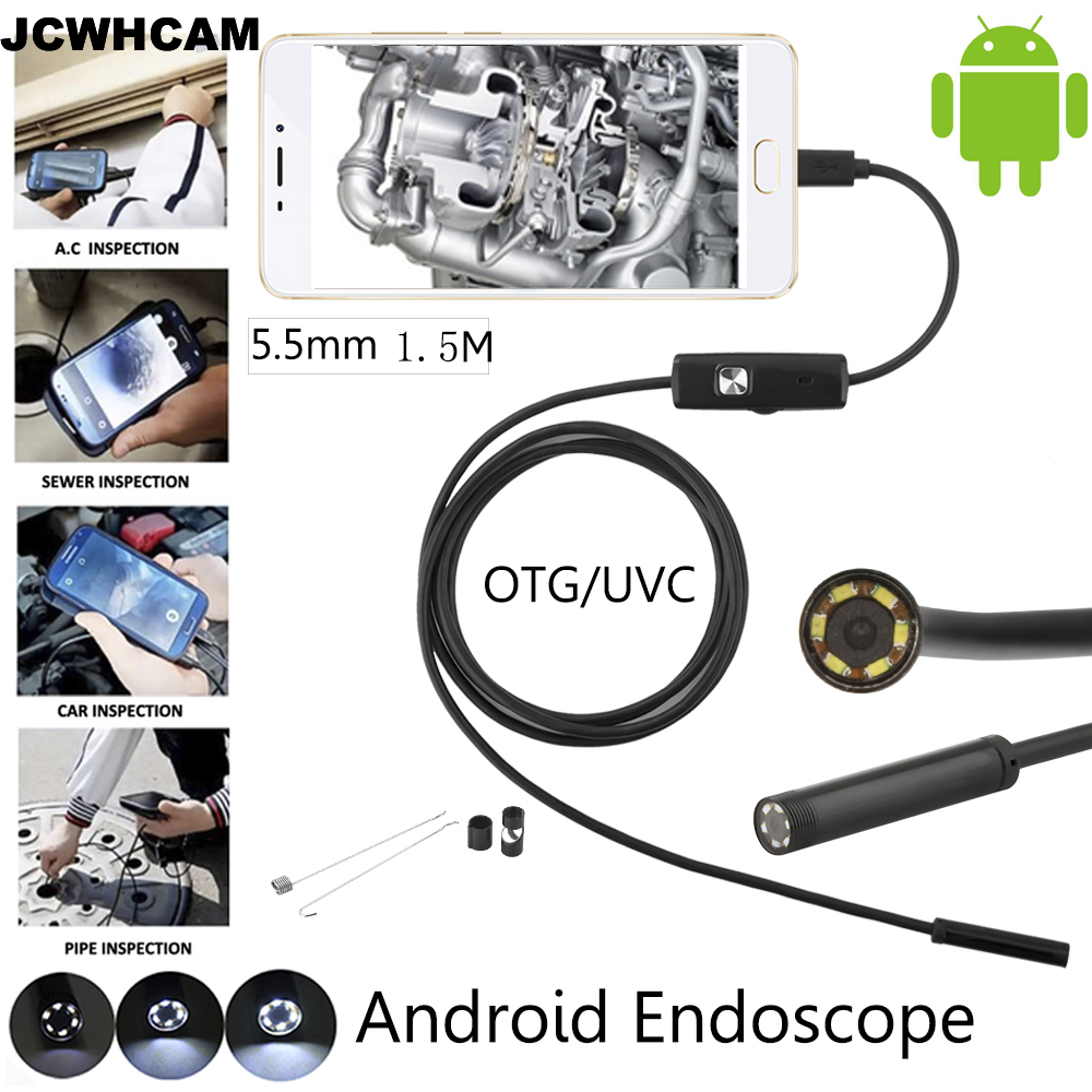 Mini Android USB Endoscope Camera 1.5M IP67 Waterproof Snake Tube Inspection Android OTG USB Borescope Camera 5.5mm Lens