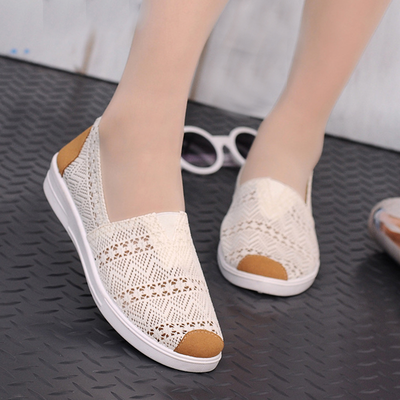 Women Flats 2018 New Summer Casual Canvas Fashion Mesh Flat Shoes Ladies Comfy Platform Hollow With Low Heel Casual Shoes e lov women casual walking shoes graffiti aries horoscope canvas shoe low top flat oxford shoes for couples lovers
