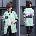 Roupa Nova Meninas das crianças Coreano Blusão Longo Lazer Casaco Crianças Outwear Roupas Rosa Verde Vermelho