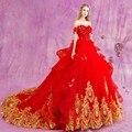 Свадебное Платье 2017 Люкс Золотые Кружева Аппликации Принцесса Бальное платье Люкс Кристалл Свадебные Платья Luxo Cristal vestidos де casamento
