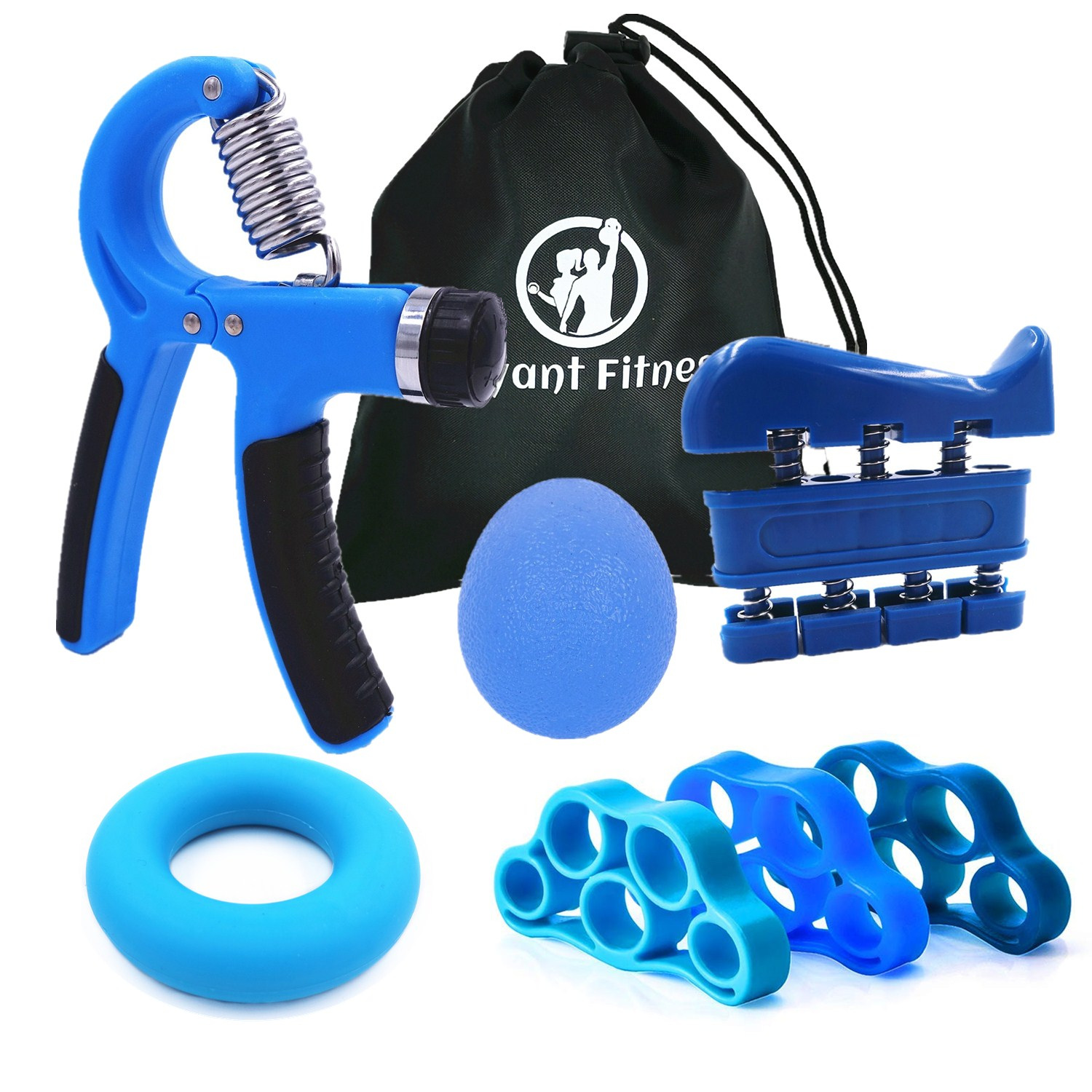 Hand Grip Strengthener Workout Kit Adjustable Hand Gripper Ring Finger Exerciser Band For Rehabilitation And Stress Relief Ball