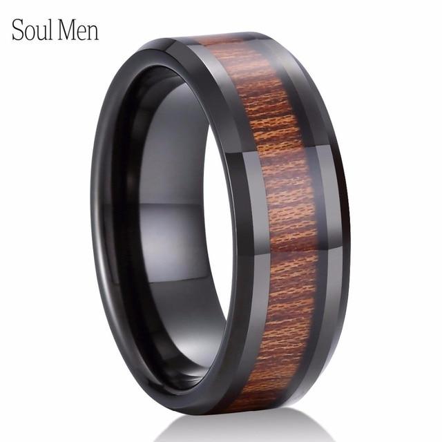 Titanium Mens KOA WOOD Inlay Titanium Ring 8mm Wide Unisex Wedding Engagement Band Ring LB1Sl2H7z