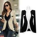De manga larga negro blanco moda chaquetas Outwear abrigos solo botón v-cuello mujeres del desgaste del trabajo de la oficina jaqueta feminina
