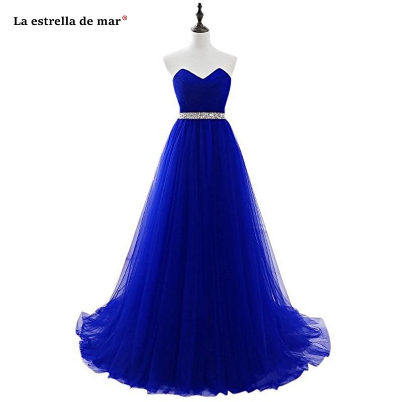 Robe Demoiselle D'honneur New Tulle Crystal Off The Shoulder A Line Burgundy Royal Blue Silver Blush Pink Bridesmaid Dress Long