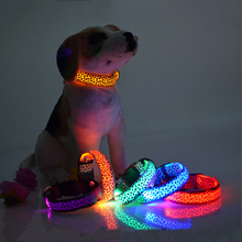 Leopard Led Dog Collar Adjustable Nylon Pets Collars Pet Cachorro Supplies Night Safety Flashing Glow Electric Collars for Dogs