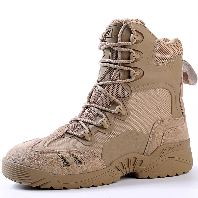 цены Men's Sports Hiking Shoes Tactical Military Leather Boots Outdoor Wear-Resistant Camping Sneakers Waterproof Women Footwear