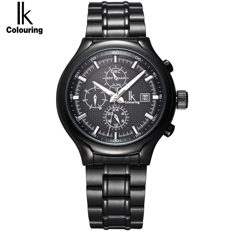 Famous Brand IK Luxury Fashion Vintage Steel Stainless Black Dial Men Mechanical Skeleton Watch For Men Wristwatch (3 Sub Dial) ik luxury fashion casual stainless steel men automatic mechanical watch skeleton watch for men s dress wristwatch free ship