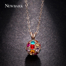 NEWBARK Full Crystal Ball Necklace Pendant For Women Long Round Pendants Chain  Multicolor Red Blue Pink Yellow Clear Crystals