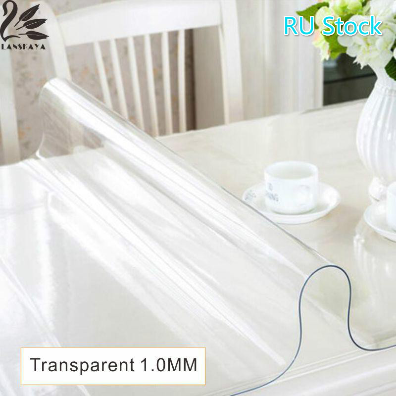 Lanskaya Ru Stock Modern Pvc Transparent Kitchen Table Cover Waterproof Oil Cloth Soft Glass Tablecloth 1.0 Mm Ship By Roll