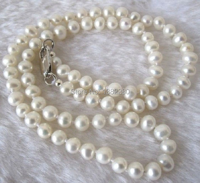 "Free shipping! fashion DIY jewelry 7-8mm White Akoya Cultured Pearl Necklace 18""     JT6635"