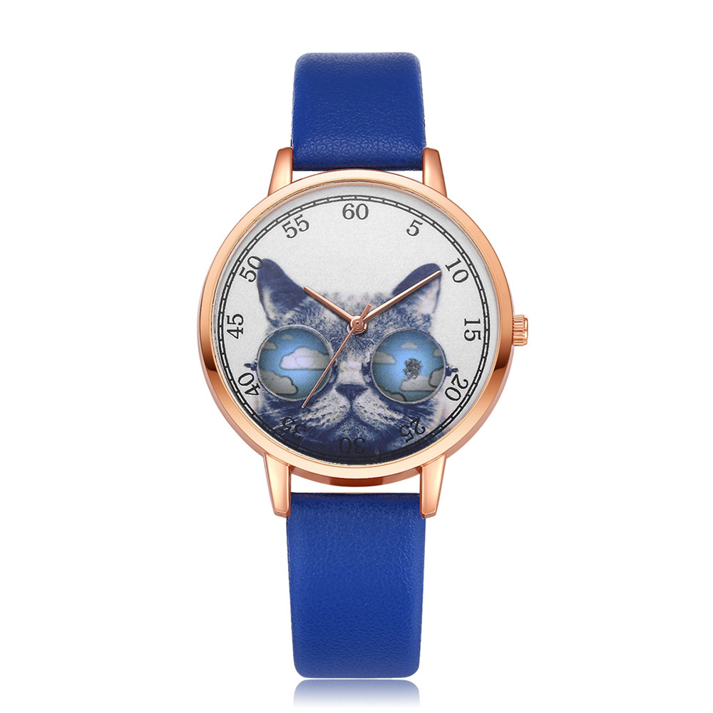 LVPAI Women Watches Leather Cute Cat Dial Wrist Watch Women Dress Ladies Quartz Watches Relogio Feminino Dropshipping W50