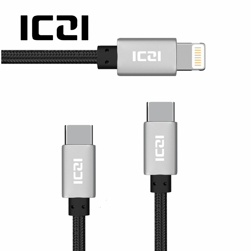 ICZI 2 Pcs Usb Cable for Iphone 8 Plus 7 6 5 To Type-C Type C Mobile Phone Fast Charging Data Sync Cabel for Apple Macbook