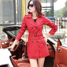Free shipping 2016 Autumn and winter new leather girls long slim coat large size women windbreaker cotton women outerwear coats