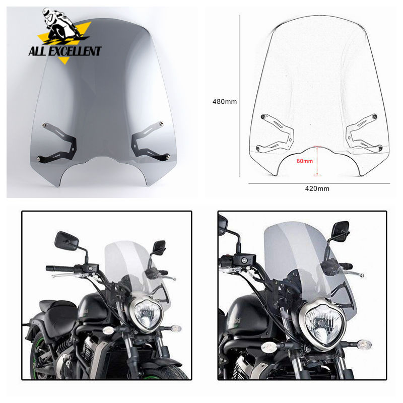 Motorcycle Accessories Windscreen Windshield Shield Screen Protector with Bracket For 2015-2018 Kawasaki VN650  Vulcan S 650