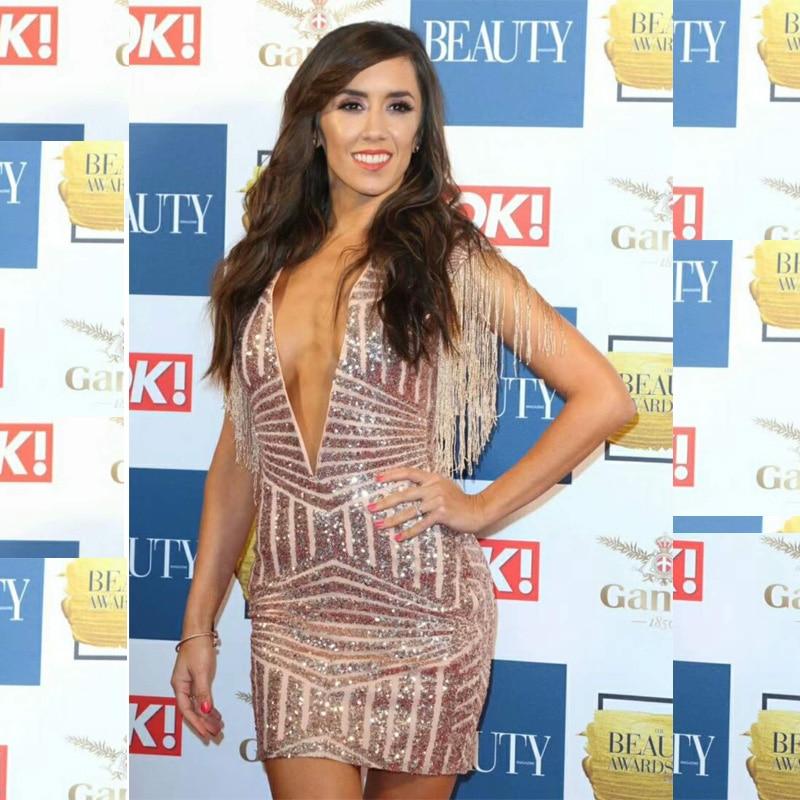 New Style Fashion Tassel Sequin Dress 2018 Sexy Deep V Neck Sleeveless Bodycon Mini Clubwear Celebrity Party Drsses Vestidos