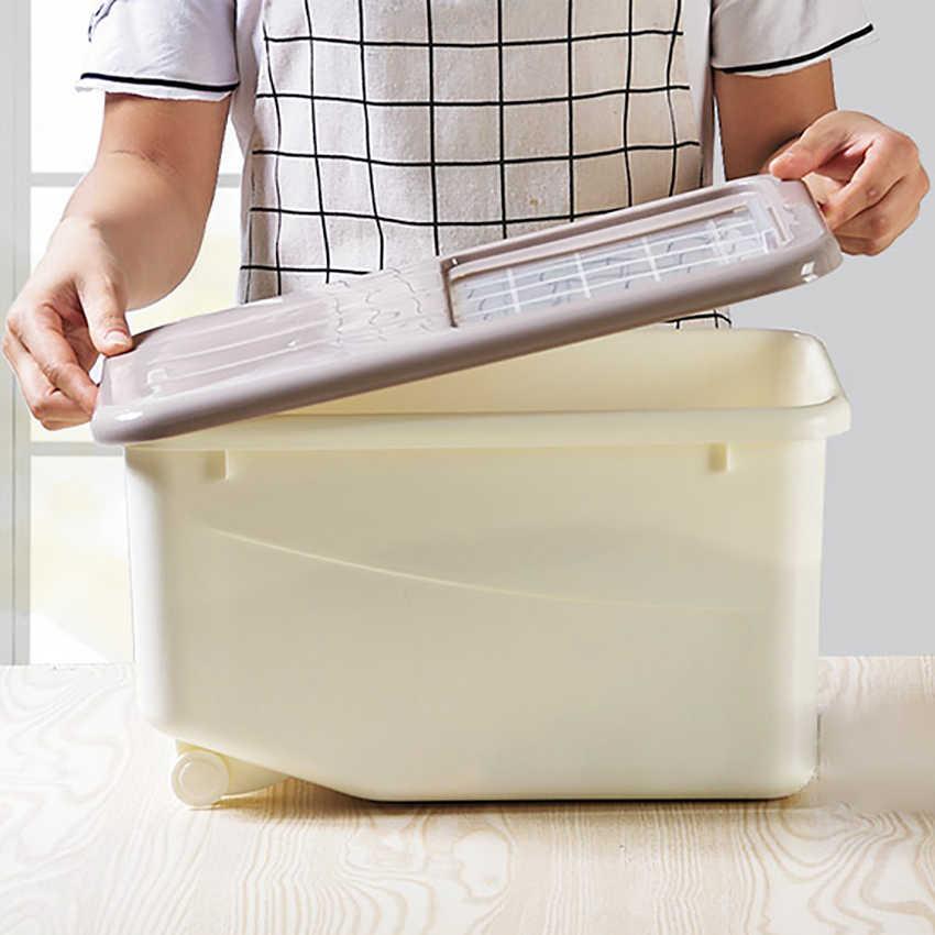 10 KG Selado Arroz Barril Caixa de Armazenamento À Prova De Umidade Com o Copo De Medição Cozinha do Agregado Familiar de Poupança de Farinha Balde Roda Suporte Stocks