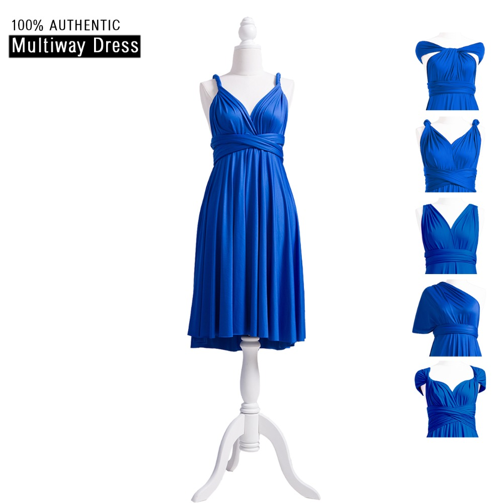 Royal Blue   Bridesmaid     Dress   Short Knee Length Infinity   Dress   Multi Way Party   Dress   Wrap Plus   Dress   With Straps Style