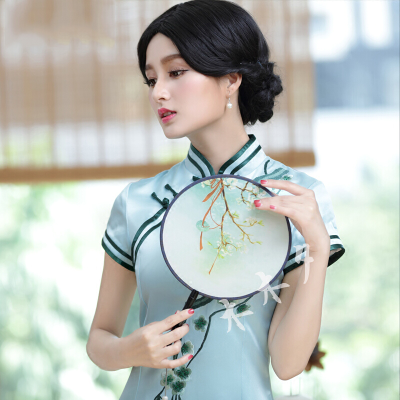 Women's League Round Double sided Decorative Fan Chinese Ancient Cheongsam Palace Silk Embroidered Dance Fans Special Gift