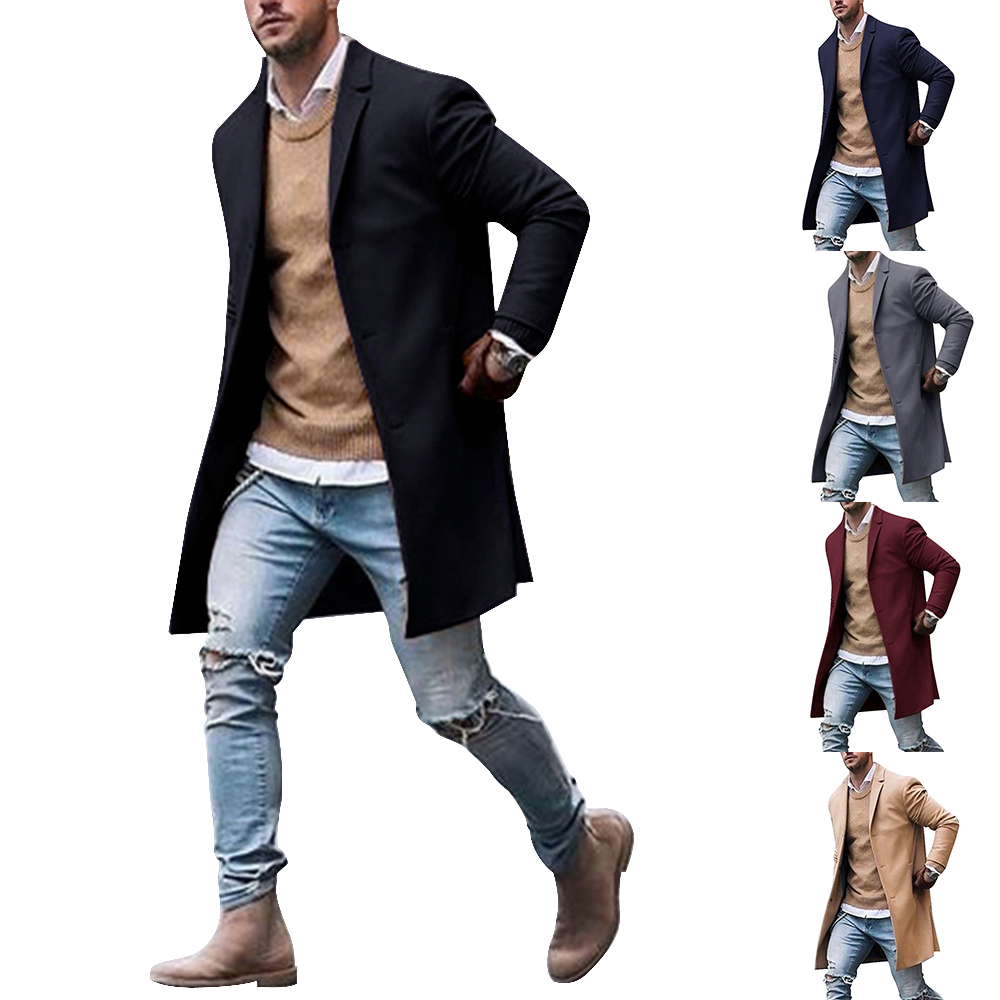 Solid Business Casual Woolen Trench Coats Male Medium Slim Collar Leisure Button Jackets Autumn Winter Fashion Tops Streetwear