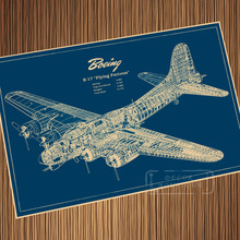 WW2 Airplane 1935 Boeing Blueprints Ciencia ficción Retro Vintage cartel de papel Kraft lona pegatina de pared decoración del hogar regalo