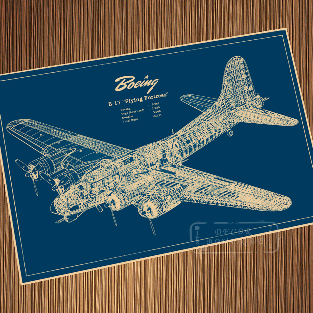 WW2 Airplane 1935 Boeing Blueprints Sci-Fi Science Fiction Retro Vintage Kraft Poster Canvas Wall Sticker Home Decor Gift image