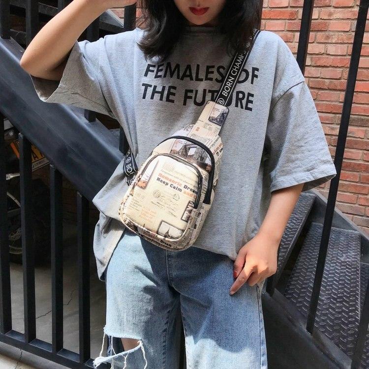 Women PU leather hip hop style Crossbody bag Graffiti Color Small Bag Korean Style Fashionable Casual Messenger Shoulder Bags(China)
