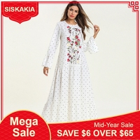 Siskakia Ruffles Draped Swing Long Dress White Floral Embroidered Maxi Dresses Spring 2019 Round Neck Long Sleeve Muslim Casual