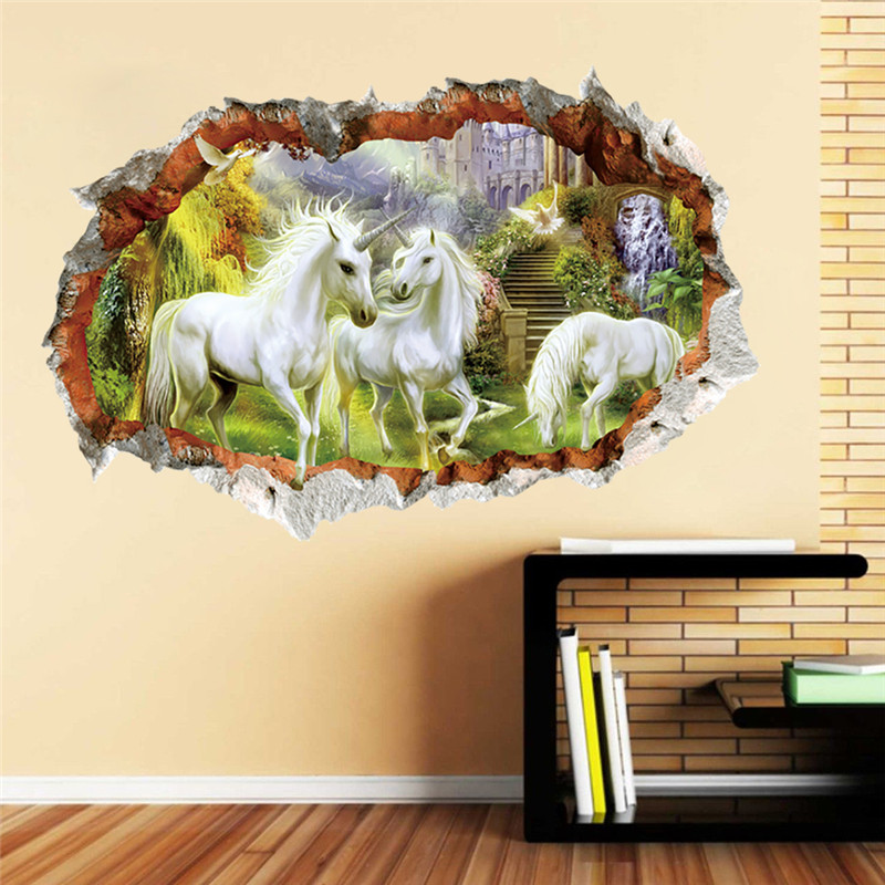 White Unicorn Horse Grass Wall Sticker For Kids Room 3d