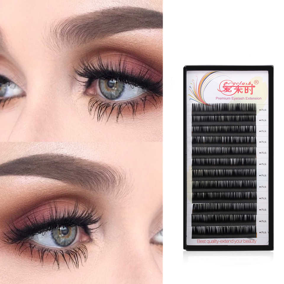 0ff3276e69f NEWCOME 3D Individual Lash Extension 100%Handmade Natural Volume Silk  Eyelashes 0.05-0.25 Thick