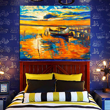 Modern Abstract Classic Setting Sun Ship Ocean Canvas Art Painting Poster Wall Picture For Living Room Home Decor(China)