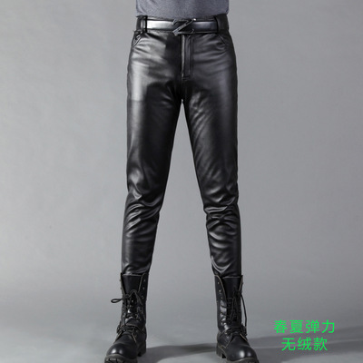 Summer Mens Business Slim Fit Stretchy Black Faux Leather Pants Male Elastic Tight Trousers PU Leather Shiny Pencil Pants A71002