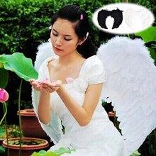 Прекрасный 4 размера крылья феи-ангела с перьями девичник ночь маскарадный костюм Хэллоуин вечерние товары для мероприятий Мода черный белый цвет