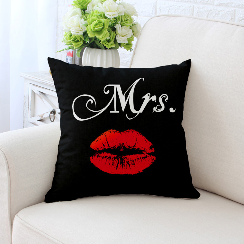 Sexy Red Lips Mrs Mr Pillow Cushion Cover Decorative Pillowcases Home Living Room Sofa Decor CHZ14 Pear 45*45cm Couch 3D Print
