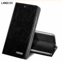 LAGANSIDE Brand Phone Case Clamshell Three Card Oil Wax Leather Models For IPhone X Cell Phone