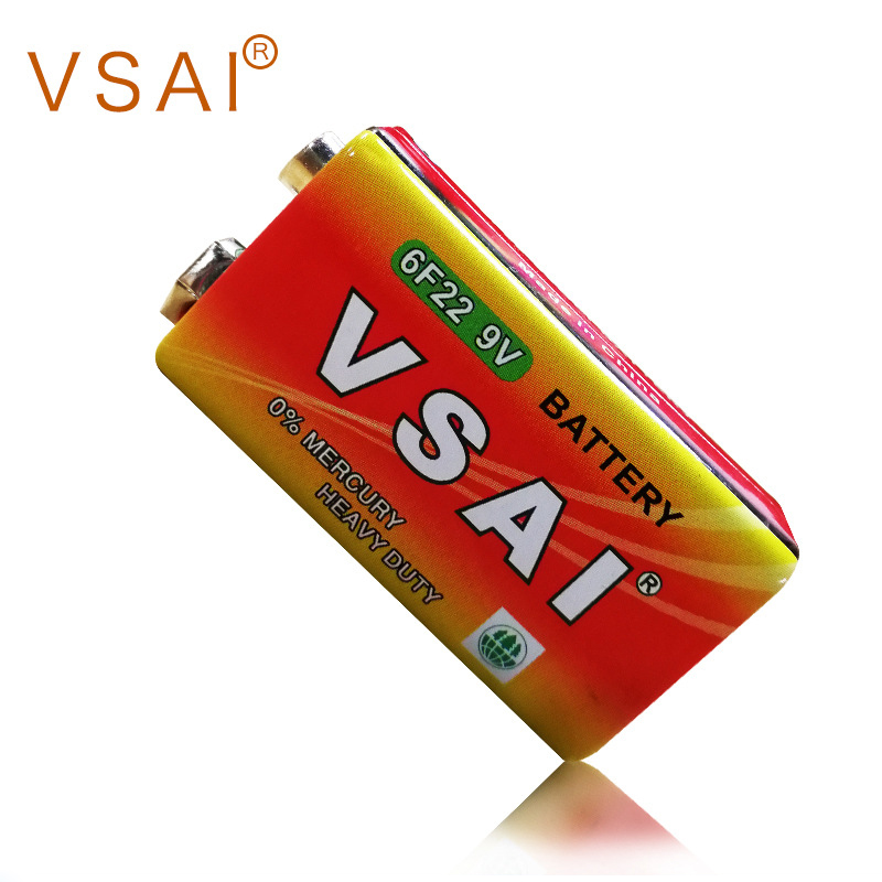 2pcs VSAI 60mAh Zinc Carbon Batteries For Alarm Smoke detectors Wireless Microphones 9V Alkaline Dry Battery