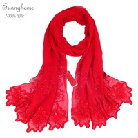 100% pure silk scarf Shawl Red muslim hijab Echarpes Scarfs women's spring autumn design embroidered long with bead silk scarves