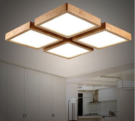 Modern Minimalist Wooden Ceiling Light Square Ceiling
