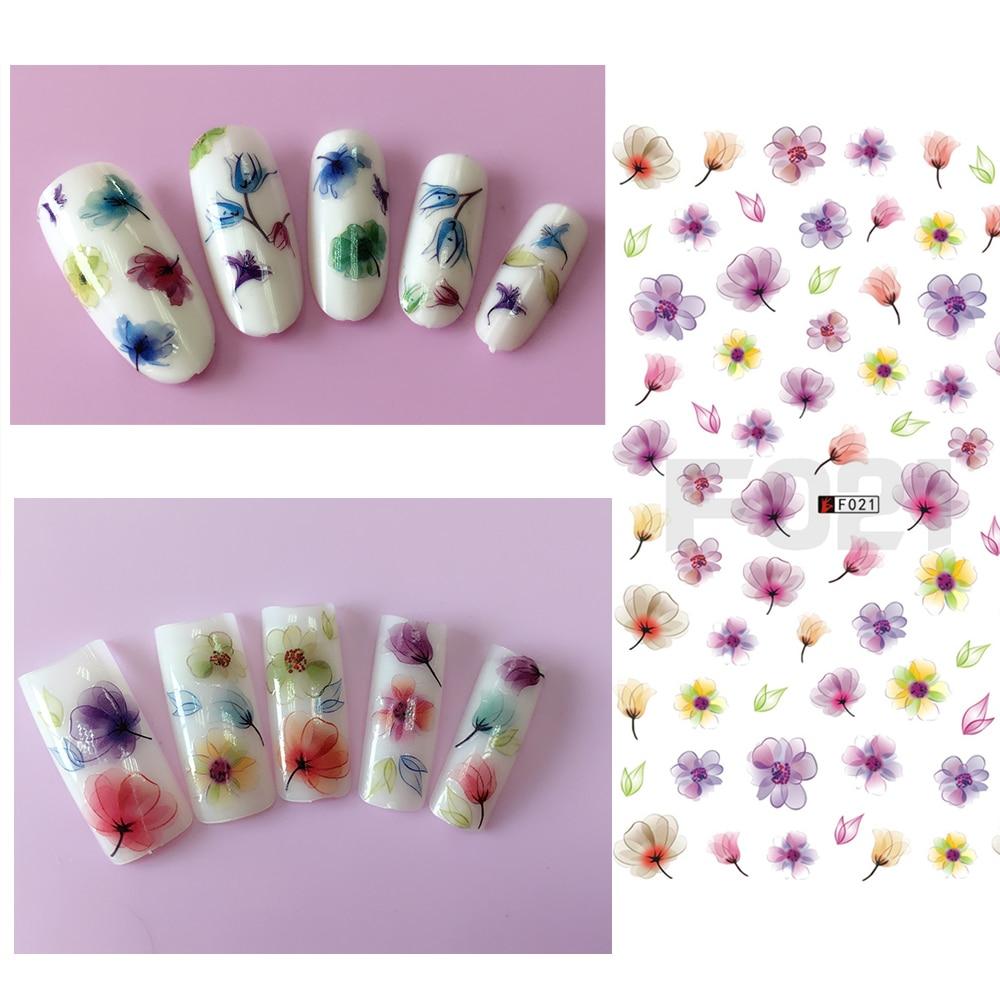 1 Stück 3D Sommer Designs Nail art Slider Aufkleber Bunte Blume DIY ...