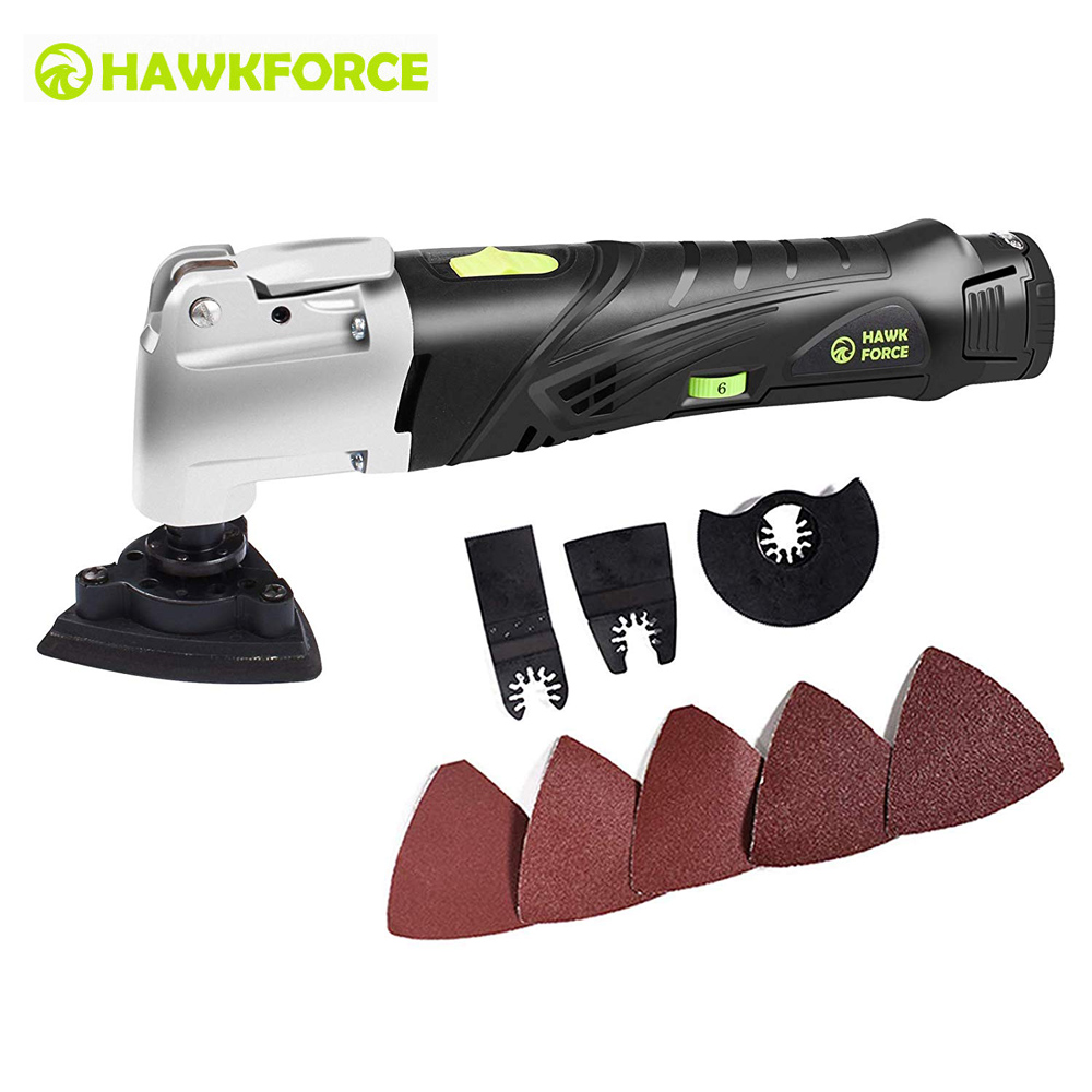 12V Cordless Multi Tool Multifunctional Oscillating Tools Kit 6 Speed Electric Trimmer Quick Change Accessory System