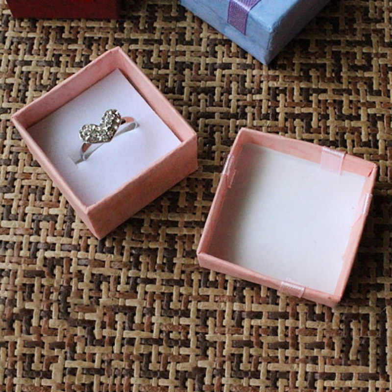 "1 pc 4*4 ס""מ Jewery ארגונית תיבת טבעת תיבת אחסון קטן אריזת מתנה עגילים מחזיק Joyeros Organizador דה joyas Rangement Bijoux"