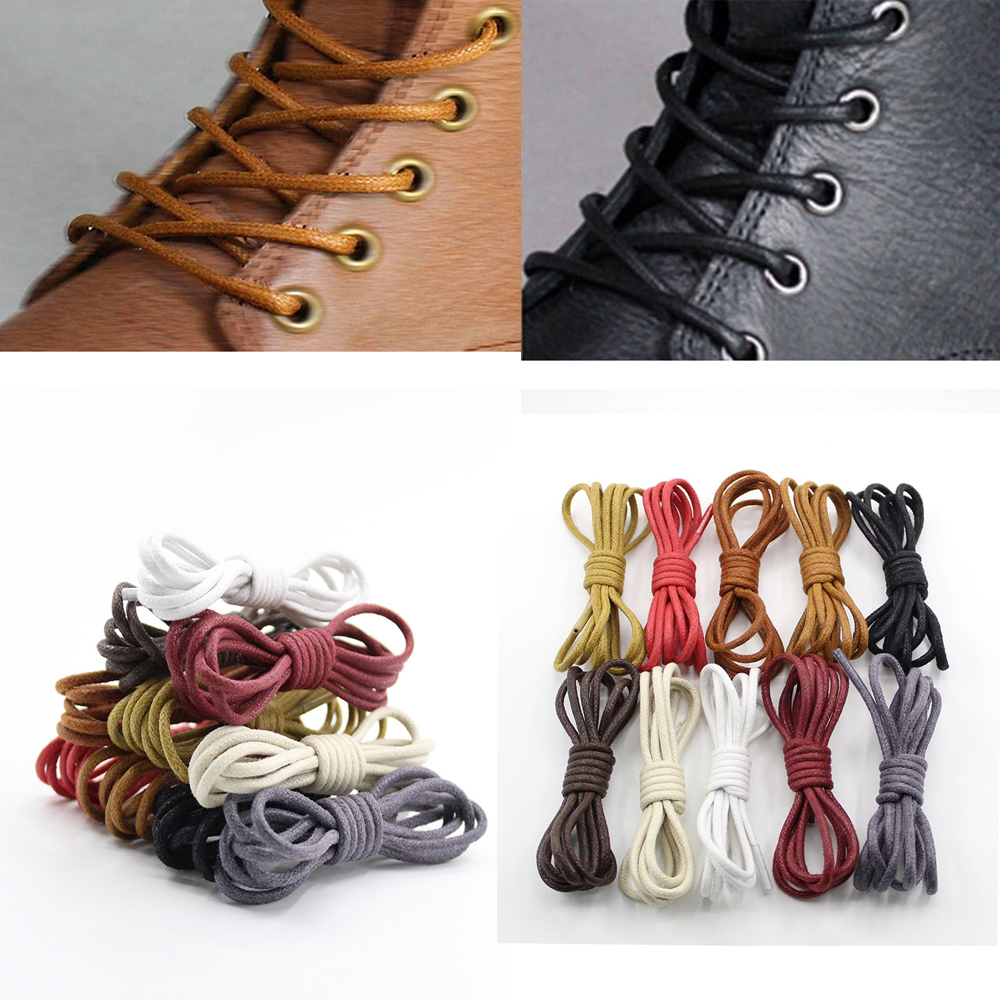 Round Wax Shoe Laces 80cm 110cm 140cm for Men & Women in 4 Colors Wine Red Black Reddish Brown Dark Brown Shoelaces