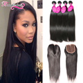 7A Indian Straight Virgin Hair With Closure 4 Bundles Raw Indian Straight Hair With Closure Remy Human Hair Bundles With Closure
