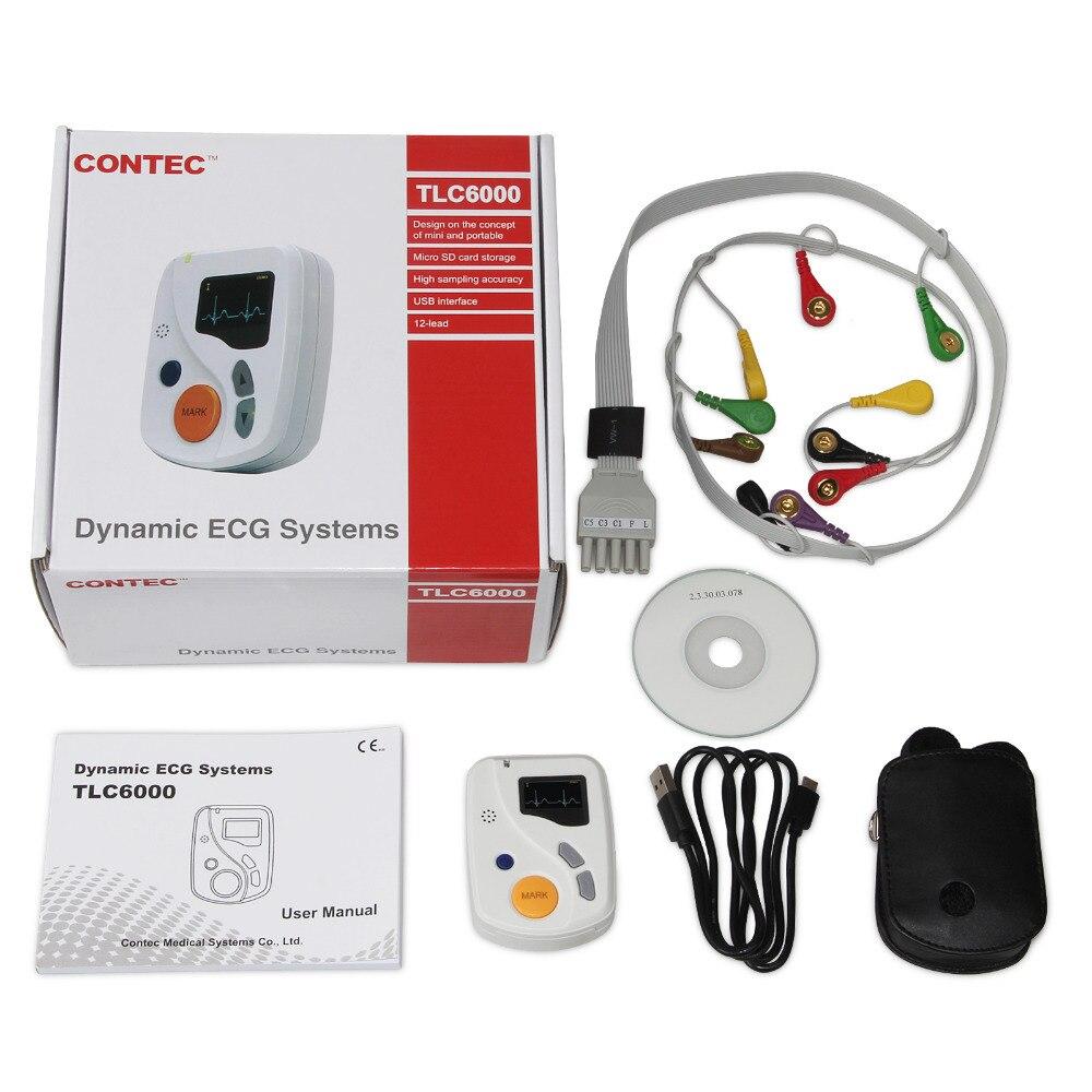 Contec Fabricant Gratuite TLC6000 Dynamique 12 Plomb ECG Holter Systèmes, 48 Heures Enregistreur, enregistreur et Des Logiciels D'analyse