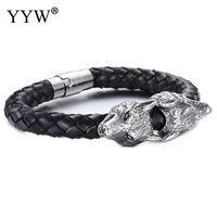 2018 Mannen Armband Zwarte Koeienhuid Met Rvs Wolf Sliver Kleur Plated Voor Man Blacken Wolf Armband Sieraden Gift