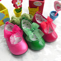 Lace Butterfly-knot Shallow Baby Girls Leather Shoes Rubber Sole Outdoor Toddler Dress Shoes Solid Sole Bebe Shoes