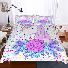 מצעי סט 3D מודפס שמיכה כיסוי מיטת סט Unicorn טקסטיל מבוגרים כמו בחיים מצעי עם ציפית # DJS01