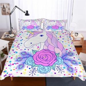 Image 1 - Juego de ropa de cama 3D impreso edredón juego de cama unicornio Textiles para el hogar para adultos ropa de cama realista con funda de almohada # DJS01