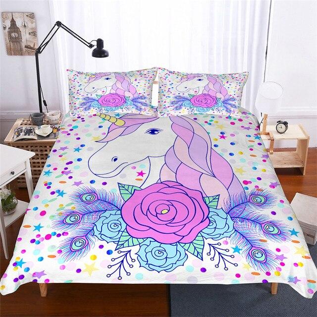Juego de ropa de cama 3D impreso edredón juego de cama unicornio Textiles para el hogar para adultos ropa de cama realista con funda de almohada # DJS01
