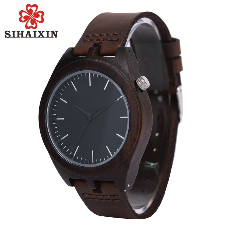 SIHAIXIN Wood Bamboo Watch Men Black Leather Strap Minimalist Design Casual Japan Quartz Wristwatch Male Relogio Masculino Gift bamboo wood watches for men and women fashion casual leather strap wrist watch male relogio
