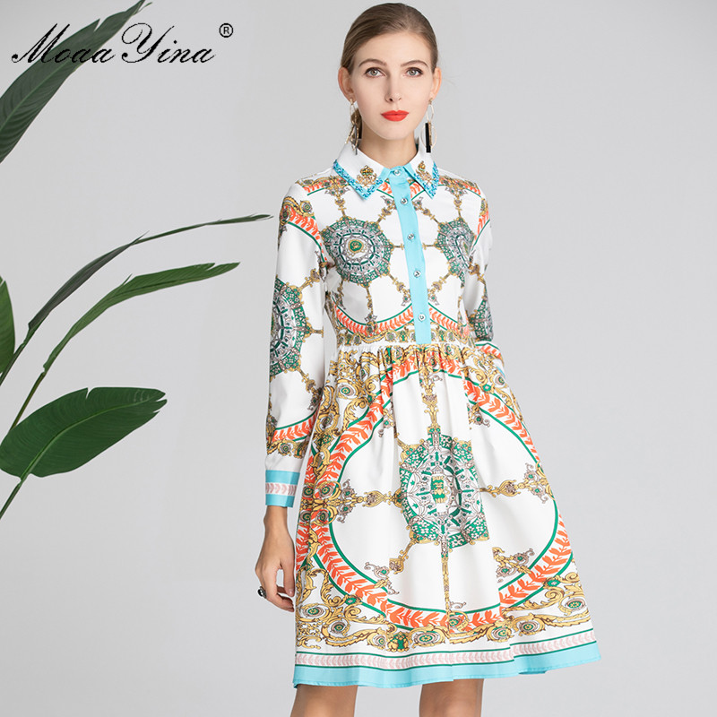 MoaaYina Fashion Designer Runway Dress Spring Women s Dress Long sleeve Turn down Collar Beading Slim